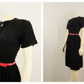 Vintage Dress 50s Black Day Dress Big Button Accordian Pleat Skirt Metal Zipper Modern Small to Medium