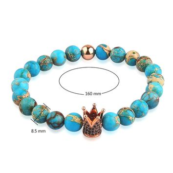 V YA Unique Blue Beads Bracelet Men's Watch Bracelet Crown Charm for Woman Man Strand Bangles Natural Stone Bead