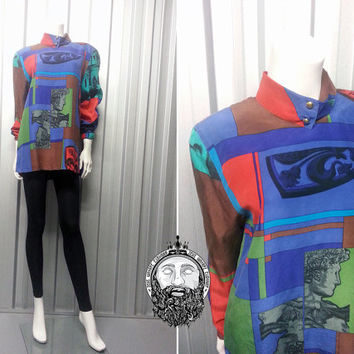 Vintage 80s Baroque Print Silk Shirt Crazy Pattern Roman Gerry Weber Blouse 1980s Clothing High Neck Polo Neck Abstract Shirt Multicolored