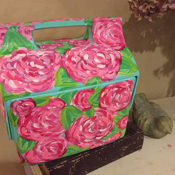 Hand painted cooler Lilly Pulitzer inspired design. Spring break must have! Sorority girls