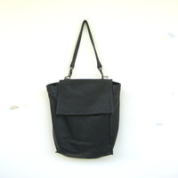 Black Leather Tote Backpack Bag, Laptop Leather Purse, Beautiful Leather Bag, Women Work Bag, Handmade Bag