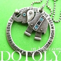 Robot Elephant Animal Pendant Necklace in Silver with Rhinestones