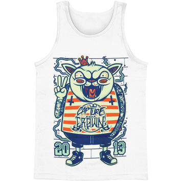 Capture The Crown Men's  Cat Punk Mens Tank White Rockabilia