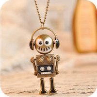 Vintage top unique Music headset robot long chain necklace Europe fashion 44g