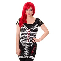 Gothic Skeleton Print with Spine cut out Back and Shoulder Extra Length Top