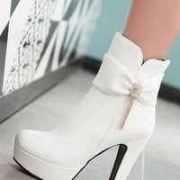 New Women White Round Toe Chunky Bow Rhinestone Fashion Ankle Boots