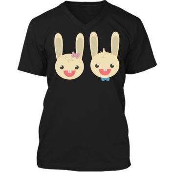 Cute Rabbit Bunny Couple Valentines Day Easter Shirt Mens Printed V-Neck T