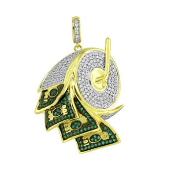 14K Gold Plated Iced Out Lab Diamond Money Roller Pendant Necklace
