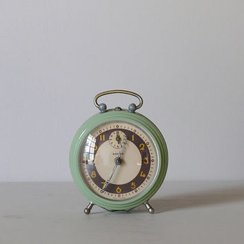 French Vintage Alarm Clock Bayard GREEN