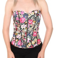 Black Floral Zipper Corset Top - 732092