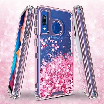 Samsung Galaxy A20 | A30 | A50 Case, Clear Glitter Sparkle Flowing Liquid Heavy Duty Shockproof Three Layer Hard Protective Bling Girls Women Cases for Samsung Galaxy A20/A30/A50 - Pink