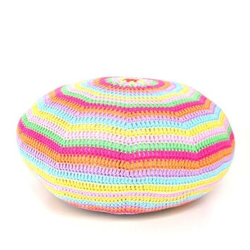 Crochet Pouf Ottoman Floor Cushion Round Pillow Pattern - Instant Dowload