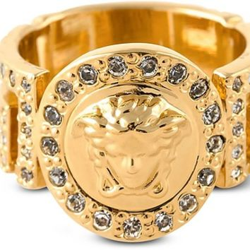 Versace Gold Metal Icon Medusa Ring w/White Crystals