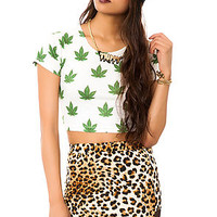 The Marijuana Princess Crop Tee in White