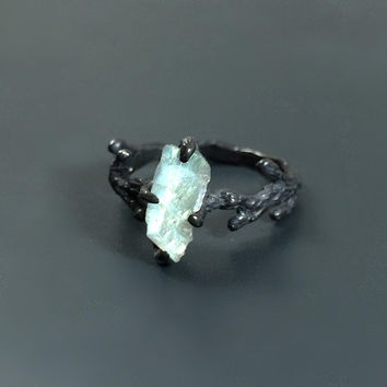 Raw labradorite twig ring Nature inspired jewelry