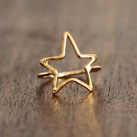 Gold STAR Ring, Most Sizes Ready to Ship