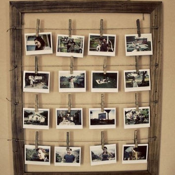 Clothes Pins and Wire Hanging Picture Frame Collage