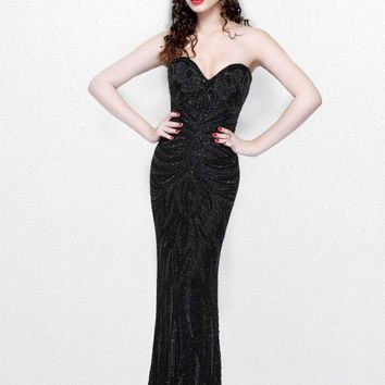 Primavera Couture - Strapless Long Fitted Dress 1837
