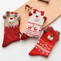 New 2016 Women Winter Warm Christmas Stereo Socks Soft Cotton Cute Santa Claus Deer Socks Xmas Christmas socks S01