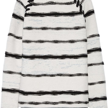 Baja East - Striped cashmere and wool-blend sweater