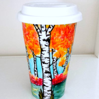 Ceramic Travel Mug Painted Aspen Trees Fall Leaves Autumn Forests Leaf Nature Orange Red Green Porcelain To-go Cup - READY TO SHIP