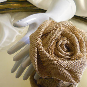 1 Large Handmade Natural Tight Weave Burlap Rose for weddings, bouquet making, cake topper, table decor
