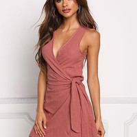 Rust Wrap Deep V Dress