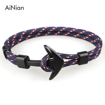 AiNian New Fashion Black Anchor Bracelets Men Charm 550 Survival Rope Chain Paracord Bracelet