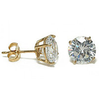 14K Gold Round Cut Diamond CZ Stud Earrings