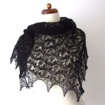 black lace shawl, handknitted scarf, gothic wedding