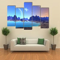 Alien Planet With Rocks And Moon Multi Panel Canvas Wall Art