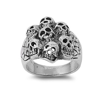925 Sterling Silver 7th Circle of Hell Skull 22MM Ring