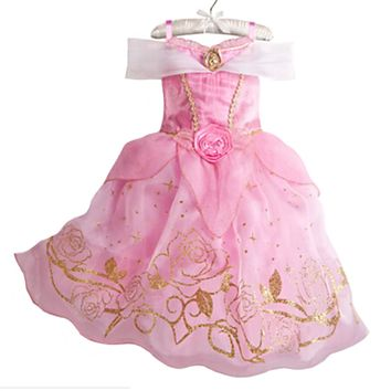 New Girls Party Dresses Kids Summer Princess Dresses for Girls Cinderella Rapunzel Aurora Belle Cosplay Costume Wedding Dresses