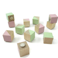 12 Wood Magnets - Green and Pink Magnets - Spring Magnets - Geometric Magnets - Refrigerator Magnets