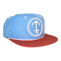 Upside Down Anchor Snapback Hat - YACHT PARTY - Carolina Blue / Nantucket Red