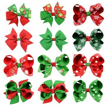 Christmas Grosgrain Ribbon Bows Hair Clip Gifts Girls Kids Christmas Decoration Snow Hairpins Women Hairclips Hair Accessories