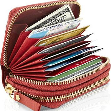 Small Leather Wallets For Women RFID Blocking with Coin Pouch and Credit Cards Holder