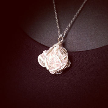 Selenite Desert Rose Specimen and Sterling Silver Necklace - Selenite Gemstone Crystal - Gypsum Mineralogy Jewelry - Wire Wrapped Stones
