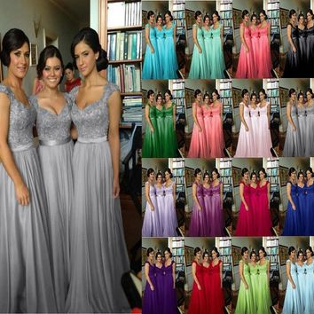 ZJ0210 fuchsia royal blue purple red 2015  lace Chiffon Long Formal Prom Party Evening Dress with crystal fashion maxi plus size