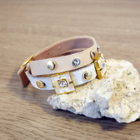 Gold and cream leather bracelet, ivory & gold stud wristlet, trendy wrist wrap cuff