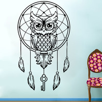 Owl Wall Decal Dream Catcher Vinyl Sticker Bedding Boho Feather Art Decor SM148