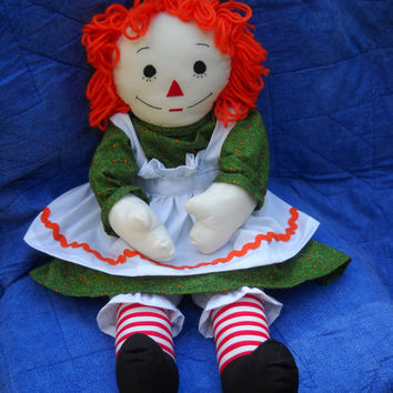 25 inch Raggedy Ann Doll New Handmade Orange Hair and Green Calico Dress