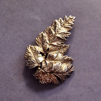 Vintage Flora Danica Denmark, Gold Vermeil Brooch Pin, Womens Estate Leaf Nature Jewelry, Wife Girlfriend Mom Sister Daughter Friend Gift