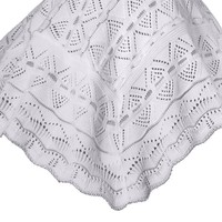 Infants White Acrylic Knit Shawl Blanket w. Open Weave Detailing