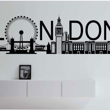 London Skyline Vinyl Wall Decal Sticker Art Decor Bedroom Design Mural City modern city
