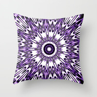 Purple White Black Explosion Throw Pillow by 2sweet4words Designs