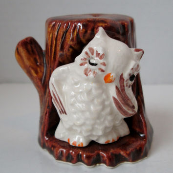 Vintage Salt and Pepper Shakers White Owl in Brown Tree Mini Go Along