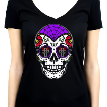 "Sugar Skull Calavera Women's V-neck Shirt Top  ""Dia De Los Muertos"" Day of the Dead"