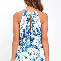So Lovable Ivory and Blue Floral Print Top