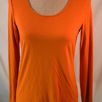 Eileen Fisher shirt S SMALL Soft Long Sleeve Rayon Lycra orange scoop neck top